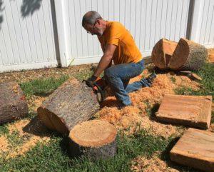 Splitting Large Green Wood Log Bowl Blanks