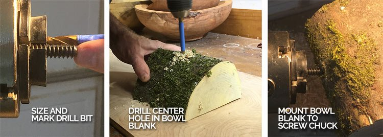 Size and Mount Bowl Blank to Screw Chuck