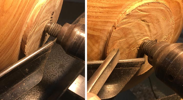 Tenon Removal Tool Rest and Gouge Position