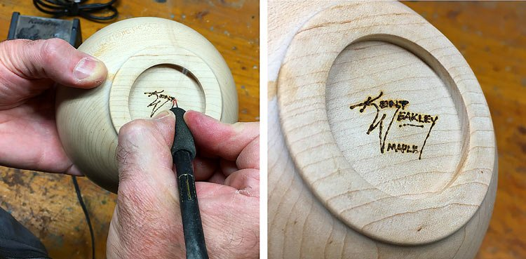 Turning Wood Bowls Step 18 Signing Bowl