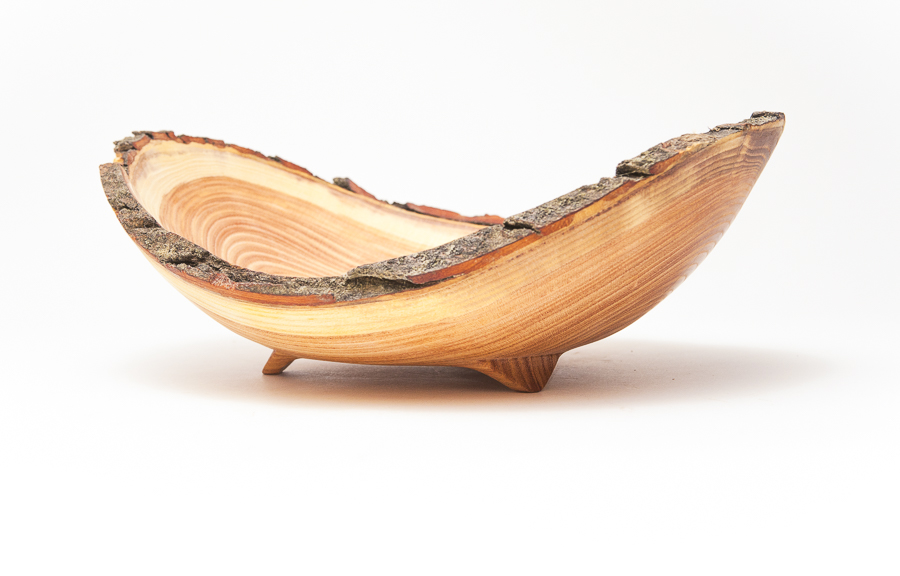 Product Photography Live Edge Bowl on white background