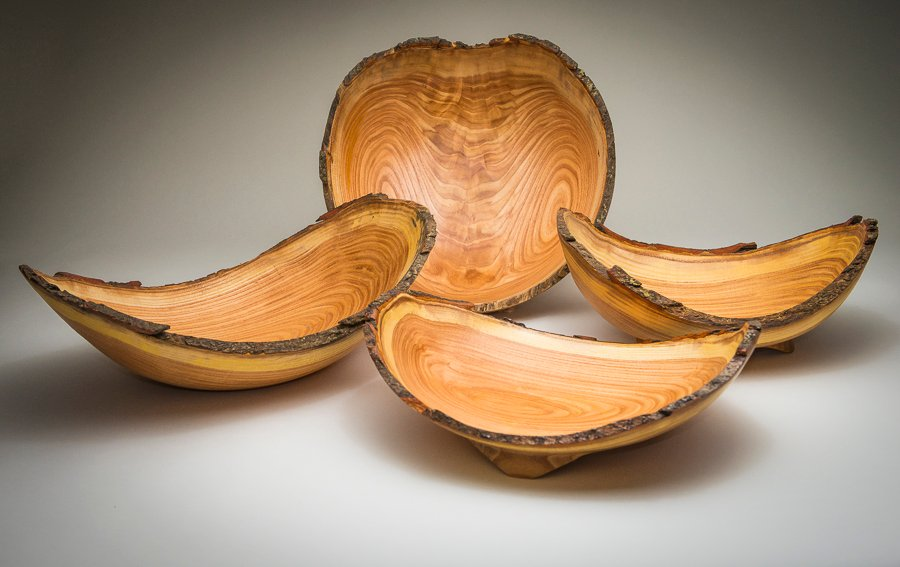 Product Photography Four Live Edge Wood Bowls
