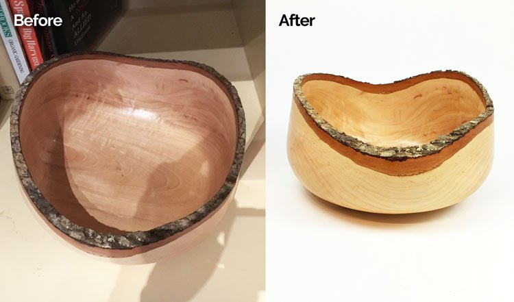Product Photo Shoot Before After Wood Bowl