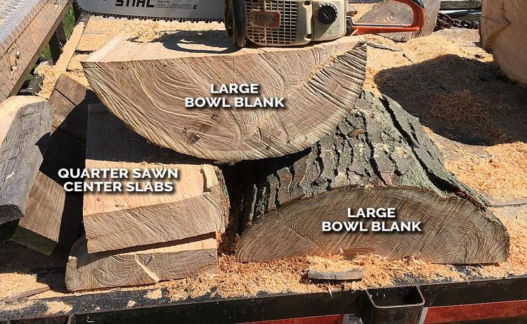 Quarters sawn wood bowl processed log
