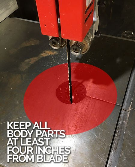 Keep Body Parts Away From Bandsaw Blade