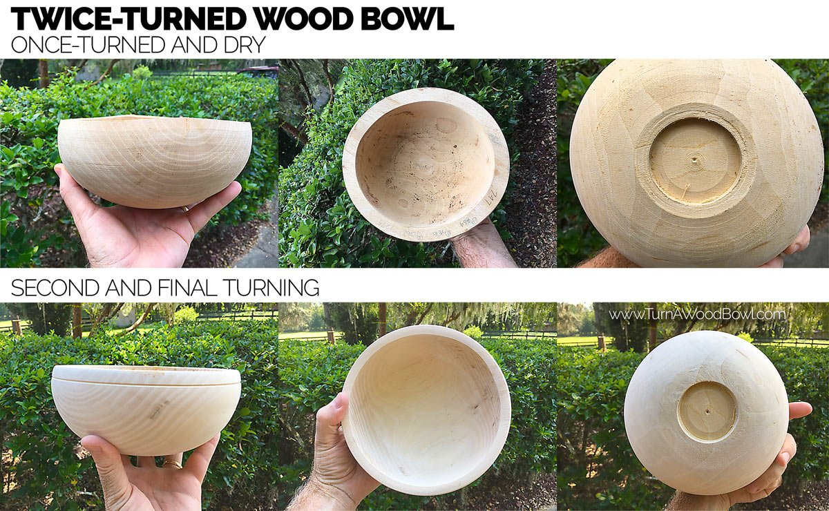 Drying Green Wood Bowls Twice Turned Example