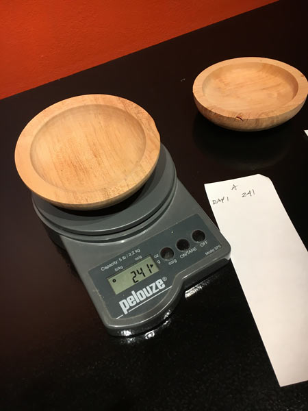 Drying Green Wood Bowls Weighing Moisture Content