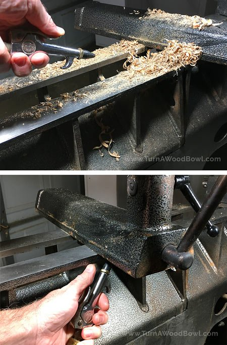 Wood Lathe Maintenance Remove Debris