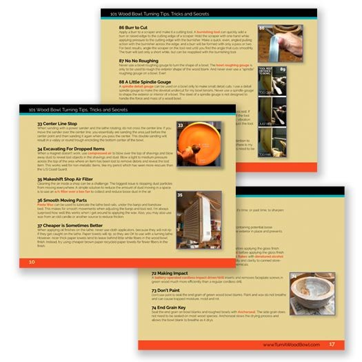 101 Wood Bowl Turning Tips eBook Sample Pages