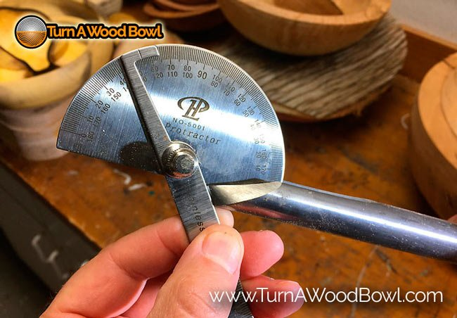 Bowl Gouge Sharpening Angles Protractor Measurement