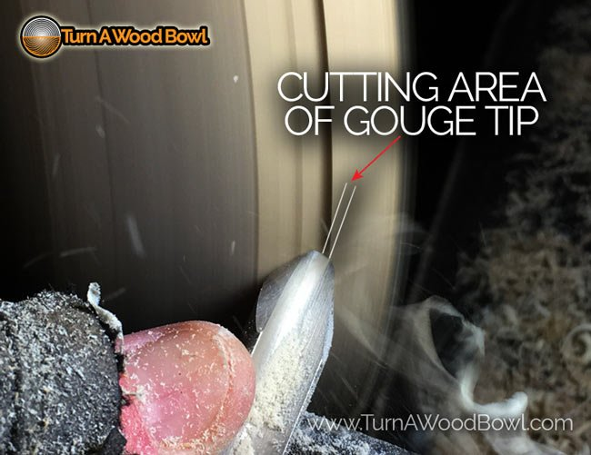 Cutting Tip Area Using Bowl Gouge