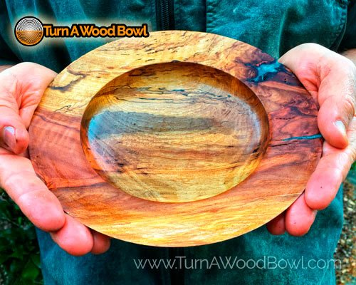 Hickory Bowl Crack Filled With Turquoise Epoxy