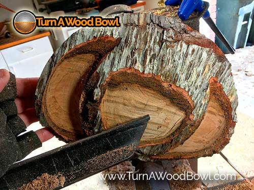 Live Edge Bowl Rim Ditch Initial Cut