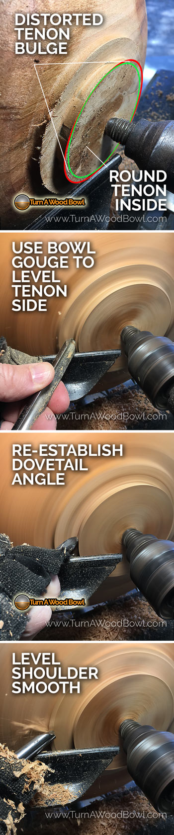 Twice Turn Wood Bowl Tenon Reshaping