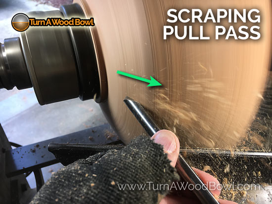 Twice Turned Wood Bowl Scraping Pull Pass