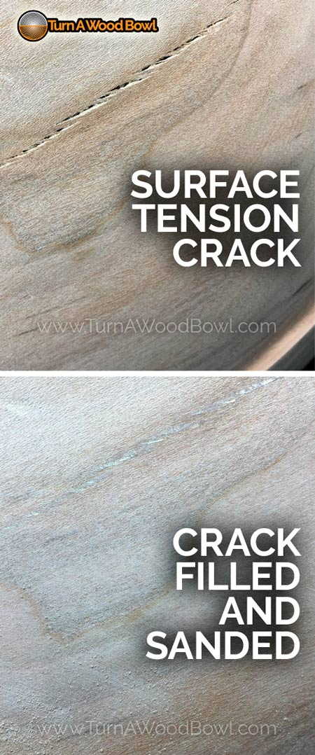 Wood Bowl Crack Fix Surface Glue Before After