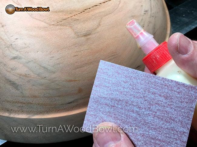 Wood Bowl Crack Fix Glue and sandpaper
