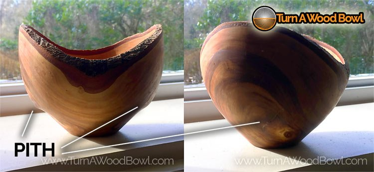 Wood Bowl Pith Area Movement Intact
