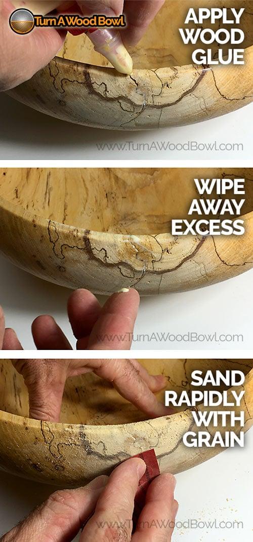 Wood bowl repair yellow glue apply sand
