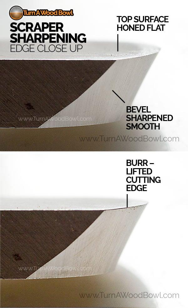 Scraper Sharpening Burr Edge Close Up