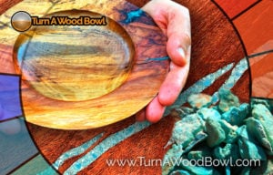 Turquoise Inlay Wood Bowl Main Image