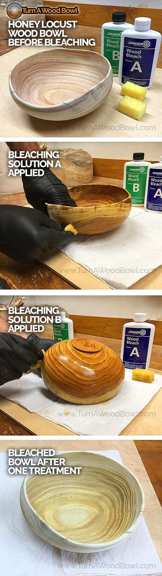 Bleaching Wood Bowl Two Part Process Images Step-By-Step
