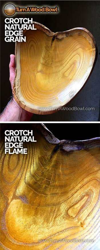 Crotch Natural Edge Wood Bowl Grain Pattern Flame