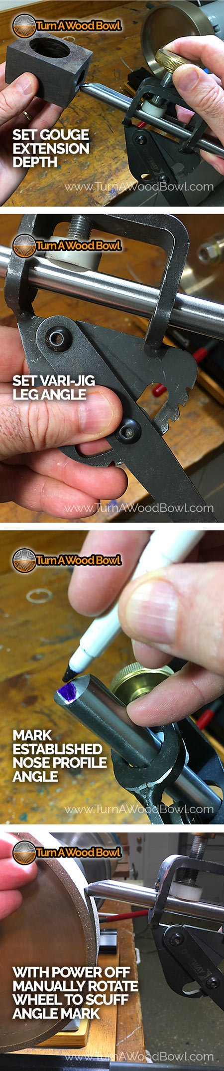 Bowl Gouge Set-Up Nose Angle Marker Check