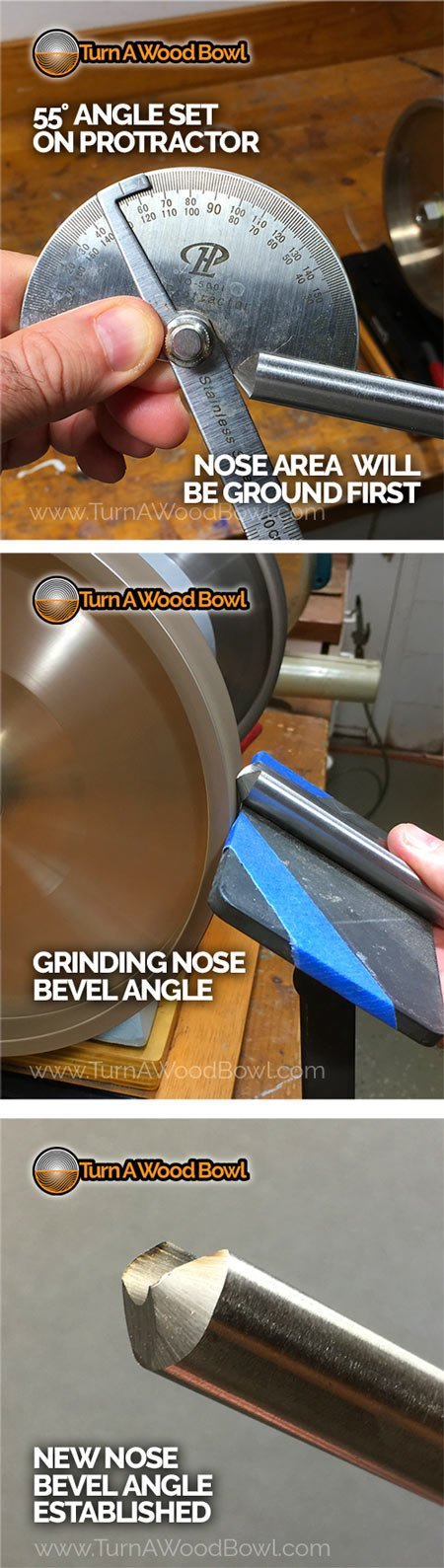 Shaping Bowl Gouge Nose Bevel Angle