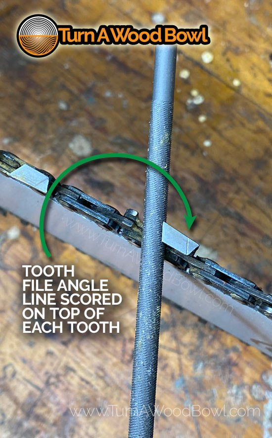 Chainsaw Tooth Angle Score Line
