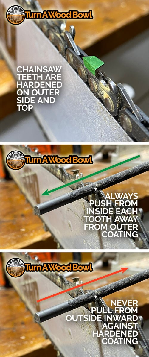 Chainsaw Tooth Hardened File Directions